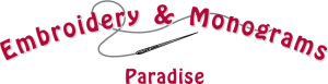 Paradise Embroidery Logo (the dark version)